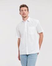 Men`s Short Sleeve Classic Pure Cotton Poplin Shirt