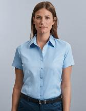 Ladies` Short Sleeve Tailored Herringbone Shirt
